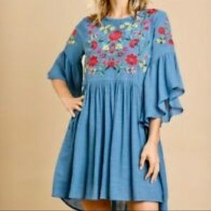 NWT Umgee Blue Floral Embroidered Dress - F